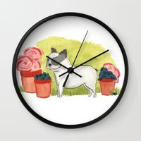 bulldog Wall Clocks featuring Bulldog by Steph Cleaver