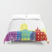 leon Duvet Covers featuring Leon skyline pop by Paulrommer