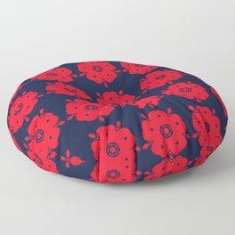 Japanese Samurai flower red pattern Floor Pillow