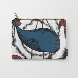 Space whale illustration floating in space red Carry-All Pouch
