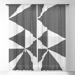 Triangles in Black and White Sheer Curtain