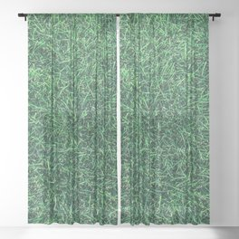 Green Grassy Texture // Real Grass Turf Textured Accent Photograph for Natural Earth Vibe Sheer Curtain