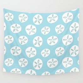 Sand Dollars Sea Urchin in Blue Wall Tapestry