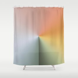 Line Gradient / Xanadu & Grey Asparagus Shower Curtain