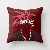 bleach Throw Pillows featuring renji abarai bleach by Rebecca McGoran