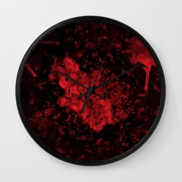 Red Black Drips Abstract Wall Clock