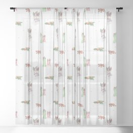 Christmas Boots Pattern Sheer Curtain