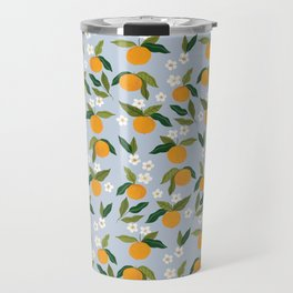 Gouache Oranges Blue Travel Mug