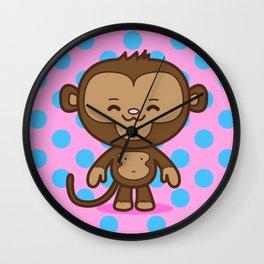 Little Monkey / Pink & Blue Wall Clock