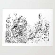 Promenade dans la montagne - Walking in the mountains Art Print