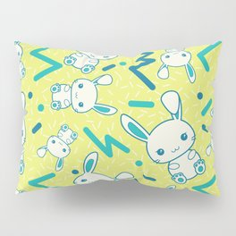 80's styled Easter illustration. Cute bunny included! Pillow Sham