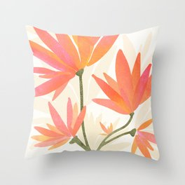 Bright Blooms / Floral Painting Throw Pillow