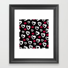 B&W Heart Pattern Framed Art Print