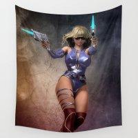 gun Wall Tapestries featuring Gun Girl by Brian Raggatt
