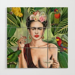 Frida con Amigos Wood Wall Art
