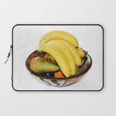 Fruit in a Wooden Bowl, Banana, orange, Pear, Plum Laptop Sleeve