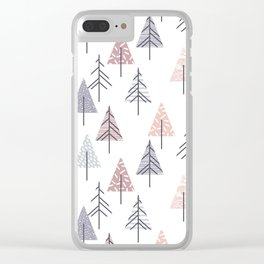 Winter geometrical pink lilac geometric trees Clear iPhone Case