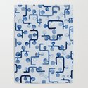 Blue Watercolour Zig Zag by toiledelina