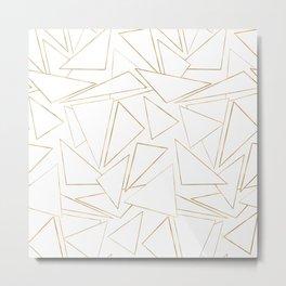 Modern Minimalist Gold White Strokes Triangles Metal Print