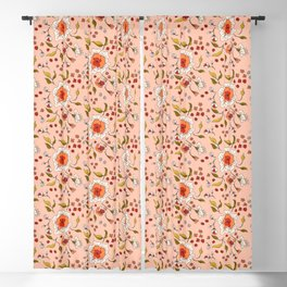 Floral Rose in Peach 0031 Blackout Curtain