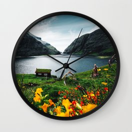 cottage at faroe Wall Clock