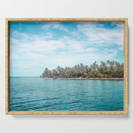 Blue and turquoise paradise of the San Blas Islands, Panama in the Caribbean Sea Serving Tray