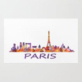 París City Skyline HQ Watercolor Rug