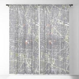Mexico city map engraving Sheer Curtain