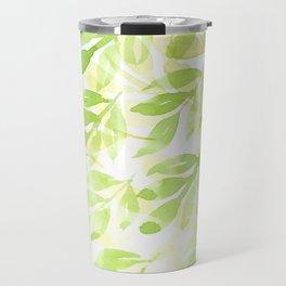 Watercolor green and yellow leaves pattern Travel Mug
