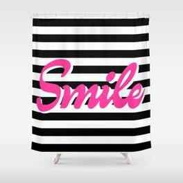 Smile, black stripes, motivational poster, typography poster Shower Curtain