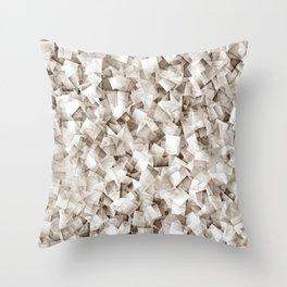 Geometric Stacks Mini Sepia Neutral Throw Pillow