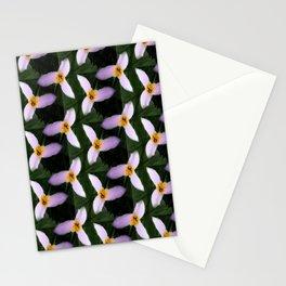 white trillium, dark background, tinted pattern Stationery Cards