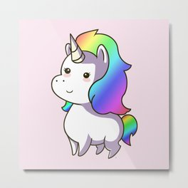 Super Cute Rainbow Unicorn Kawaii Metal Print