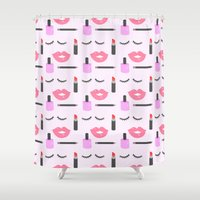 makeup Shower Curtains featuring Makeup Pattern by adorkible