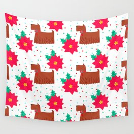 Christmas Dogs And Poinsettia Pattern Wall Tapestry