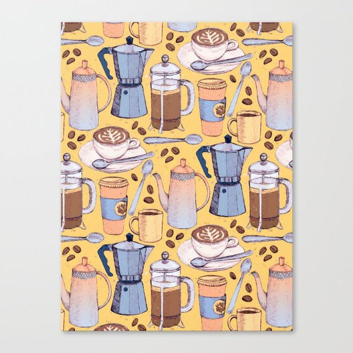 Coffee Love on Yellow Canvas Print