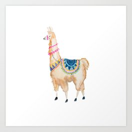 Watercolor llama Art Print