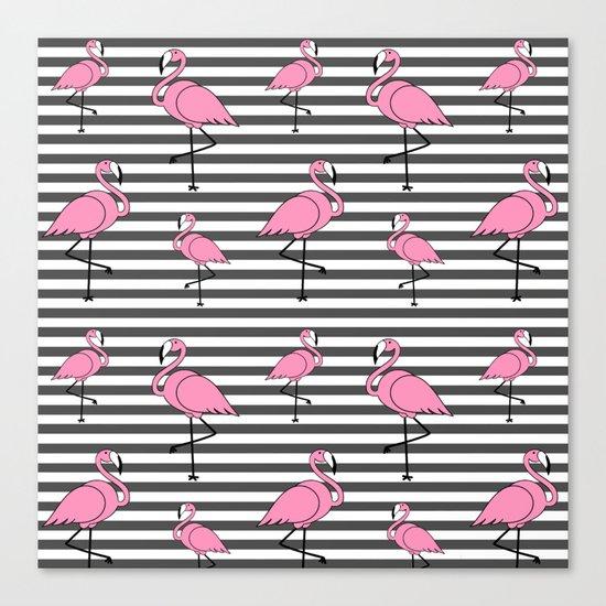 Flamingo Pattern Striped Background Canvas Print