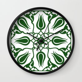 Green Turkish Traditional Floral Tile Art Wall Clock