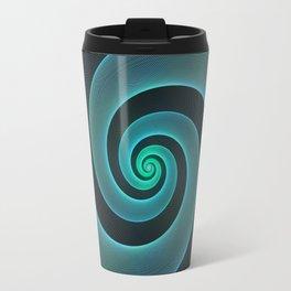 Mint Swirl Blue & Black Spiral Travel Mug