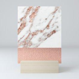Rose gold marble and foil Mini Art Print