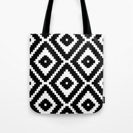 Monochrome Ikat Diamond Pattern Tote Bag