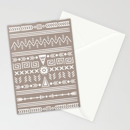 Tribal Pattern - White & Brown Stationery Cards