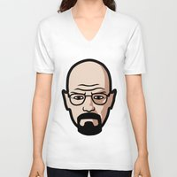 walter white V-neck T-shirts featuring Walter White by Joe Bidmead