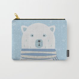 Polar White Bear with Scarf Carry-All Pouch