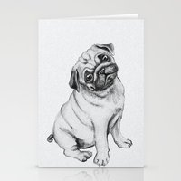 pug Stationery Cards featuring Pug by Maripili
