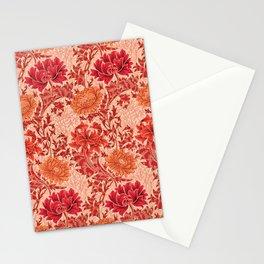 William Morris Chrysanthemums, Coral Orange Stationery Cards