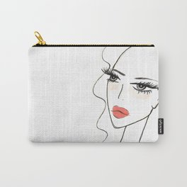 Red lips girl portrait Carry-All Pouch