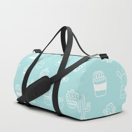 White and Turquoise blue cactus pot pattern Duffle Bag
