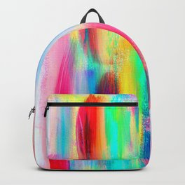 BE POSITIVE #2 Colorful Abstract Painting Lines Pattern Fluorescent Modern brushstrokes Backpack